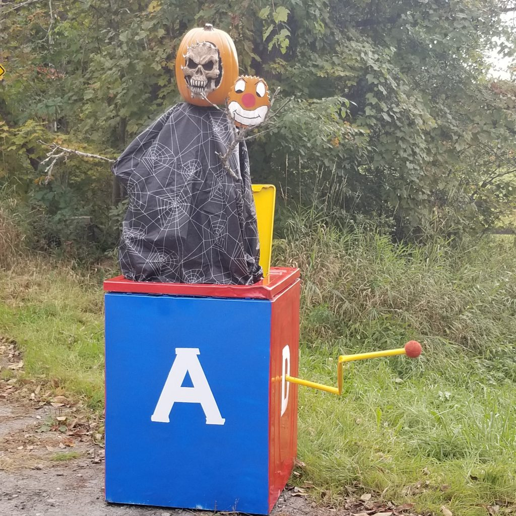 Jack-o-in-the-box at intersection of Methodist Hill Rd and Harriman Rd