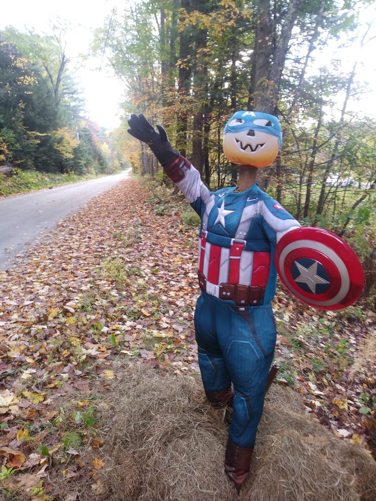 Captain America Pumpkin Person at 182 Whitaker Rd